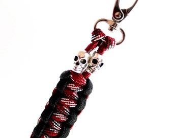 Skull Paracord Keychain, Survival Keychain in Black and Firebrick - Double Sided