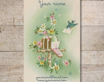 Business Cards - Custom Business Cards - Jewelry Cards - Earring Cards - Display Cards - Mailbox, Bird - No. 134