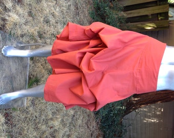 Convertible Skirt in Salmon – Can be LONG or bustled shorter by tying strings – Lightweight Cotton in 3 sizes
