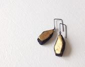 SALE 50% Black Gold Hook Earrings, Gold Paint Drop Earrings, Primitive Gold Earrings, Black Polymer Clay Earrings