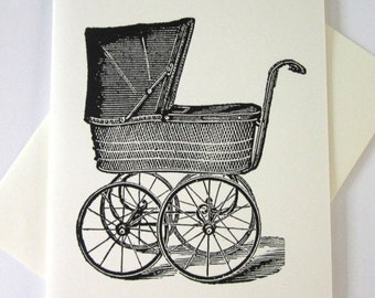 Vintage Baby Carriage Pram Cards Set of 10 in White or Light Ivory with Matching Envelopes