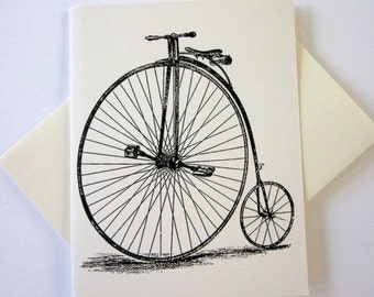 Penny Farthing Bicycle Note Cards Set of 10 with Matching Envelopes