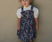 PRIM ROSE - Sweet Vintage Toddler Girls Dress Pinafore Puffed Sleeve Peter Pan Collar Ruffled Floral Classic 1970s 1980s 2T 3T