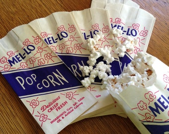 1 Dozen Vintage  Popcorn Bags Mel-Lo Red White Blue Patriotic Great Packaging Movie Night