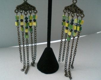 Dangle Earrings wih Beads and Chain