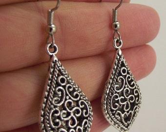 Ornate Antiqued Silver Filigree Teardrop Earrings, Silver Earrings