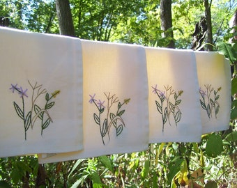 4 Fall Wildflower Cloth Napkins- hand embroidered