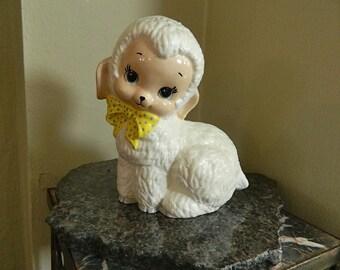"Vintage Ceramic Lamb Music Box, Large, Plays Brahms Lullaby, Adorable: ""Sweet Little Lamb"""
