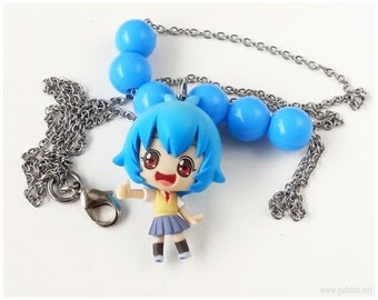 NGE Ayanami Rei Necklace, Blue Beads, Stainless Steel Chain - Anime Jewelry, Chibi Character