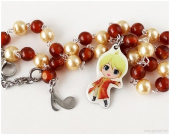 Kagamine Len Necklace, Beaded Chain, Silver Tone - Vocaloid, Gamer