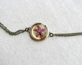 Pressed Flower Bracelet Pink Penta Flower Botanical Gift Woodland Minimalist Naturalist Resin Jewelry Bridal Garden