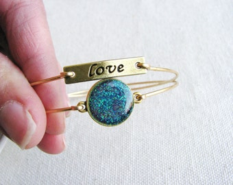 Glitter Bangle Charm Bracelets Stackable Stacking Love Charms Blue Pink Sparkle Boho Chic Minimalist Resin Gold Brass Gift Ideas Unique