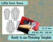 Scrapbook Digital Collage Photoshop Template, Halloween Coffin Favor Boxes