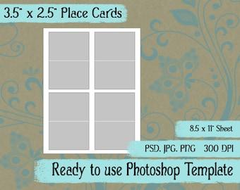 "Scrapbook Digital Collage Photoshop Template, 3.5"" x 2.5"" Folding Place Card"