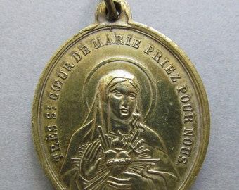 Antique Religious Medal  Immaculate Heart of Mary and Sacred Heart of Jesus  SS285