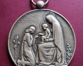 Saint Catherine Religious Art Medal Antique French Art Deco Bronze By Delannoy