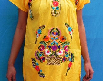 Mexican Mini Dress Yellow  Tunic Embroidered Handmade Collection Spring / Summer Small