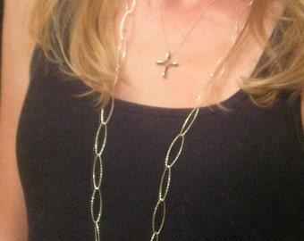 Long Oval Diamond Cut Sterling Silver Necklace