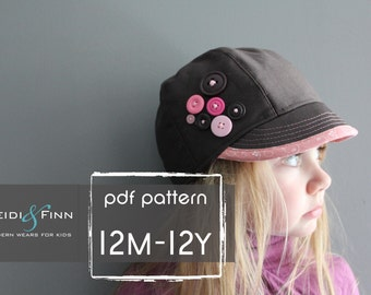 Uptown Hat pattern and tutorial 12M-teen easy sew PDF pattern unisex cap