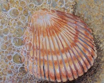Seashell Painting  tide sea foam beach shell