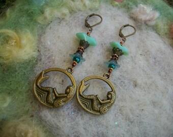 Bronze Mermaid Earrings, Ocean Blue Beads