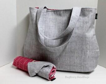 The Laguna Diaper Bag Set - Heath in Grey with Herringbone in Berry Or Custom Design Your Own