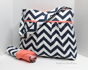 Monterey Bag Large Diaper Bag Set - In Navy Chevron and Salmon / Coral Pink - Adjustable Strap and Elastic Pockets