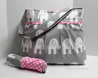 Monterey Chevron Diaper Bag Set - Large - In Grey Elephants and Candy Pink  Dot - Adjustable Strap - Elastic Pockets
