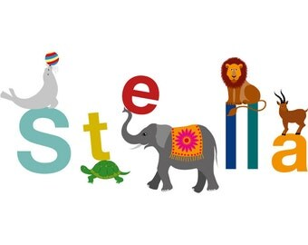 Kid's Alphabet Animal Name Print - Personalised