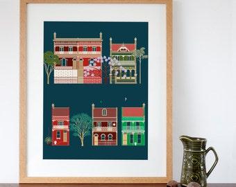 Australian terraced houses digital art print