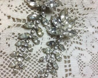 Large Vintage Rhinestone Earrings Leaf Fringe wedding bridal prom runway after five Hollywood New Years party