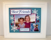 Frozen Elsa and Anna Picture Frame - Sisters Cousins, Best Friends, You Choose Title - FREE PERSONALIZATION