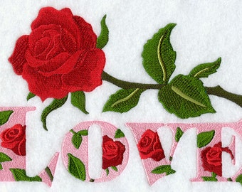 LOVE & ROSES - Machine Embroidered Quilt Block (AzEB)