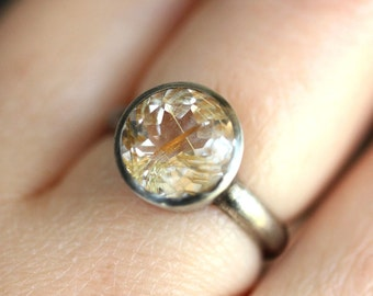 Golden Rutilated Quartz Oxidized Sterling Silver Ring, Gemstone Ring,  In No Nickel / Nickel Free - Made To Order