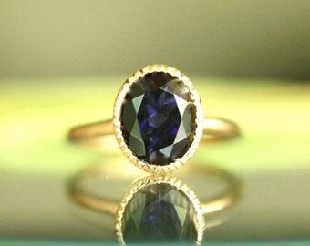 Genuine Iolite 14K Gold Engagement Ring, Gemstone Ring, Stacking RIng,  - Made to Order
