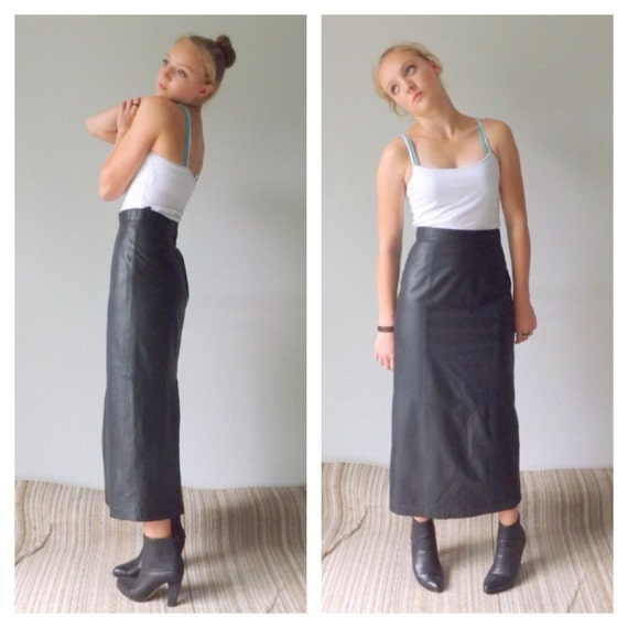 90s leather pencil skirt danier leather black leather skirt