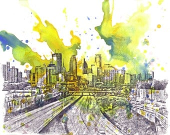 Minneapolis Cityscape Skyline Landscape Painting - Original 8.5 X 11 in. Abstract Skyline Watercolor Painting Original Wall Art Decor