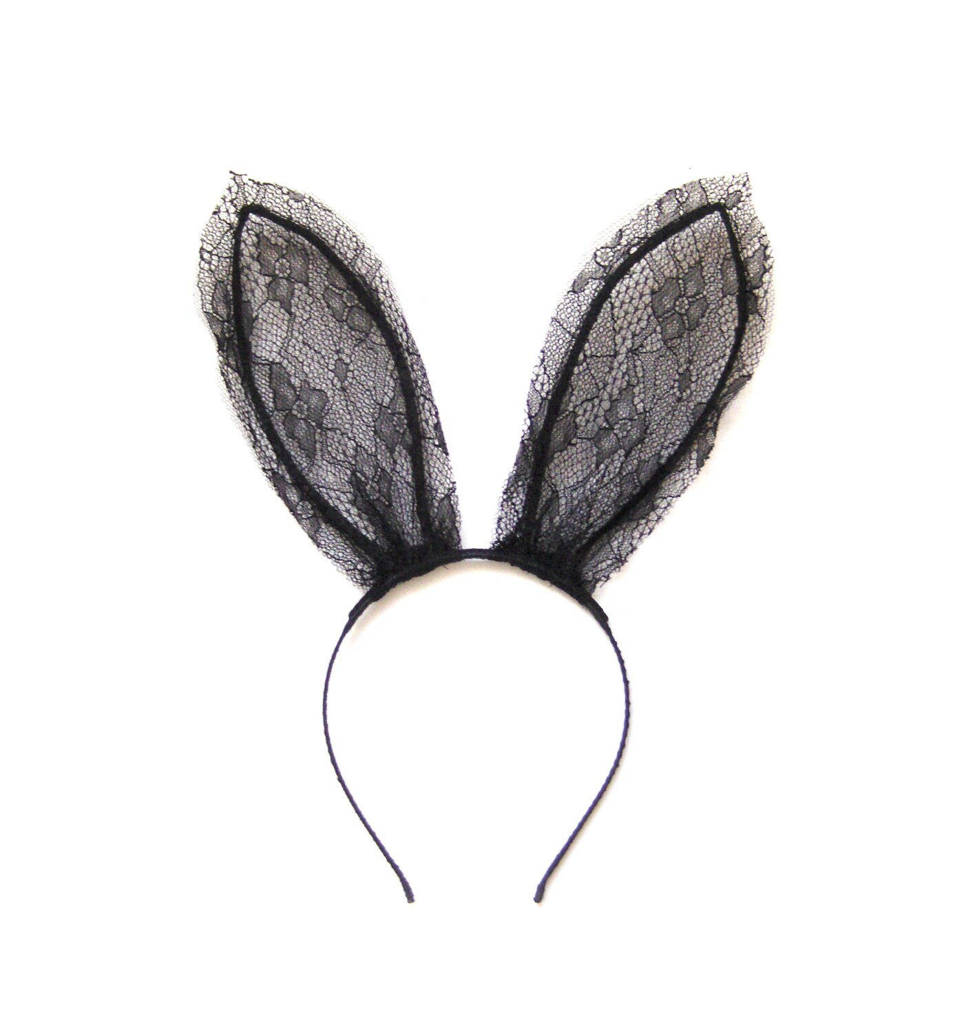 Bunny ears headband - Black bunny ears - Playboy bunny ears. Taffeta bunny rabbit ears headband, made from crisp shiny taffeta fabric. They make a change from lace bunny ears. Ears have a height of about 8 inches. Flexible bendy wire is threaded through for you to bend and shape the ears .