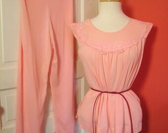 Vintage Pink Pajamas 50s 60s 2pc PJs L XL - on sale