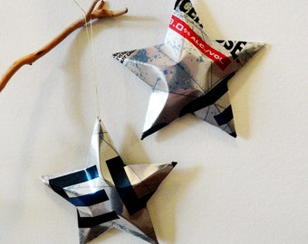 Icehouse Edge Beer Stars, Christmas Ornaments, Aluminum Can, Upcycled