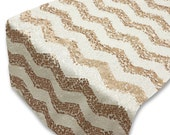Chevron Champagne Gold Blush and White Sequin Table Runner 14x108