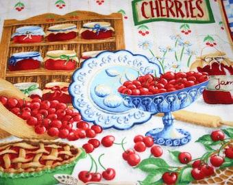 Two Place mats, cherry place mats, summer place mats. a pair of place mats