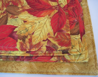Changing Leaves Placemats Set Golden Yellow and Red Leaves Fall  Placemats Thanksgiving Placemats Autumn Placemats
