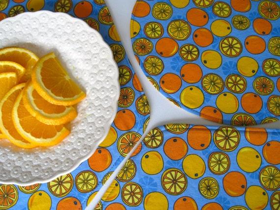 SALE Orange Placemats Wedge Orange Placemats Oval Orange Fruit Placemats Citrus Placemats Oval or Wedge Placemats