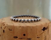 Oxidized Sterling Silver Stack Ring--Smaller Bead--Dotted--Handcrafted--Sweet & Simple