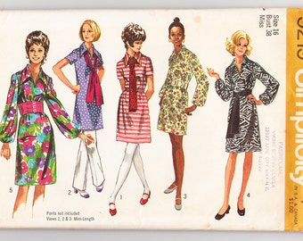 Vintage 1970 Simplicity 9219 UNCUT Sewing Pattern Misses' Dress in Two Lengths and Sash Size 16 Bust 38