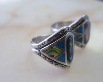 native american turquoise abalone wedding ring set - Native American Wedding Rings