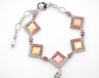 Mother of Pearl Diamond-shaped Cubic Zirconia Rhinestone Ball Dangle Pink Shell Link Bracelet