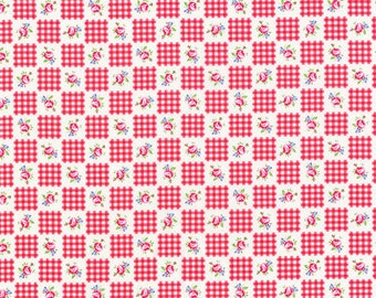 Flower Sugar Fall 2013 Red Gingham and Roses Cotton Fabric  by Lecien 30844-30
