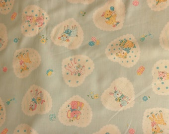 Yuwa Vintage Inspired Animals on Pale Blue AT812896-B Cotton Fabric